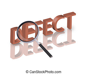 defect search - Magnifying glass enlarging part of red 3D ...