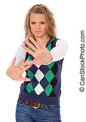 Attractive blonde woman with defensive gesture. All on white background