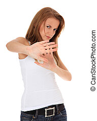 Attractive girl with repelling gesture. All on white background.