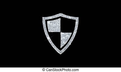 Defence, guard, protect, safety, shield Icon Shining Glitter...
