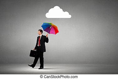Businessman standing with umbrella under cloud concept