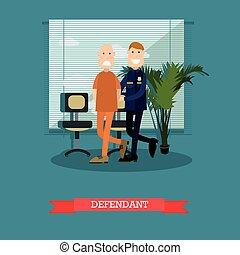 Defendant vector illustration in flat style - Vector...