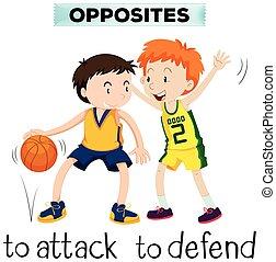 defender, attck, palavras, oposta