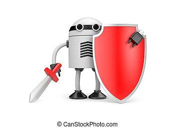 Defender - New technologies metaphor. Isolated on white