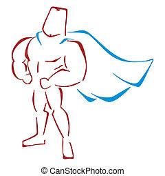 Defender in costume - Muscular super hero standing in a...