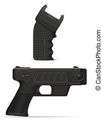 defensa, arma, arma de fuego, ilustración, vector, stun, sí...