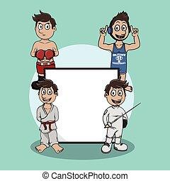 defensa propia, ilustración, señal