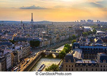 defense., france., zakelijk, eiffel, parijs, sunset., district., toren, skyline, verdediging, la, aanzicht, panoramisch, parijs, luchtopnames