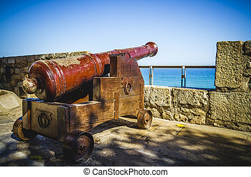 Defense, Spanish cannon pointing out to sea fortress