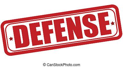Stamp with word defense inside, vector illustration