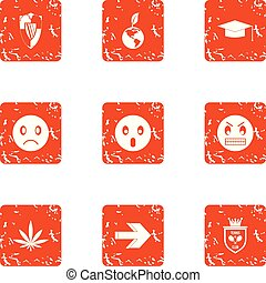 Defensive anger icons set, grunge style - Defensive anger...