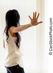 defensive attitude of a woman