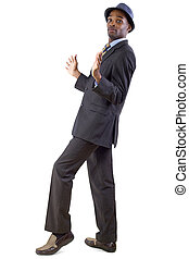 Defensive Gesture - young black businessman in a retreating...