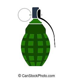 Defensive Grenade Icon. Flat Color Design. Vector ...