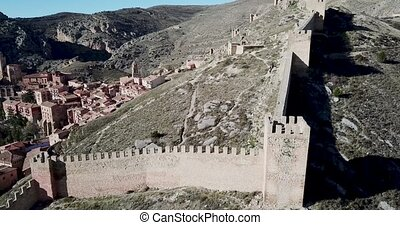 Defensive Northern wall of Albarracin on background of ...