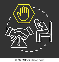 Defensive strategies chalk RGB color concept icon. Personal tactics. Hardships in business. Dealing with conflict. Competition idea. Vector isolated chalkboard illustration on black background