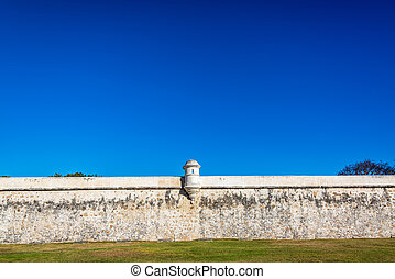 View of part of the defensive wall surrounding the historic center of Campeche, Mexico