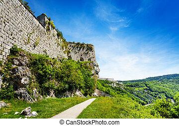 Defensive wall of citadel in Besancon, France