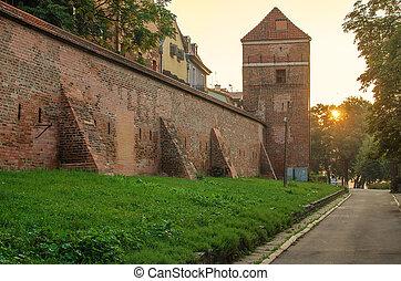 Defensive wall (Torun, Poland) in the sunrise