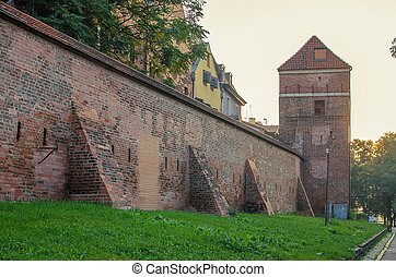 Defensive wall (Torun, Poland) in the sunrise