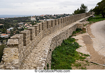 Defensive walls on the Sesimbra Castle in Portugal, overlooking the city