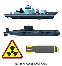 defesa, exército, armadura, indústria, luta, guerra, vetorial, navio militar, technic, conflito