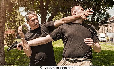 defesa self, arma, contra, técnicas