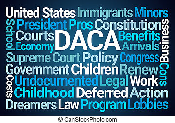 Defferred Action for Childhood Arrivals or DACA Word Cloud on Blue Background