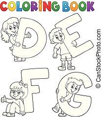 defg, coloração, letras, livro, crianças