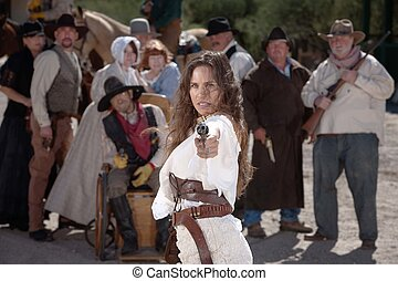 Mexican cowgirl. Mexican woman in old west style clothes ...