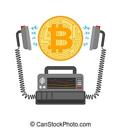 Defibrillator and Bitcoin. Cryptocurrency launch. Medical...