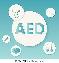 defibrillator), concept, monde médical, externe, (automated, aed
