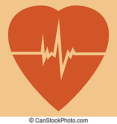 Defibrillator icon - Defibrillator red heart icon isolated...