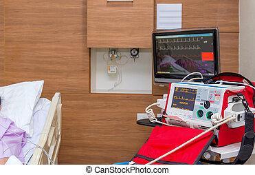defibrillator, in, intensivpflegestation, zimmer, an, klinikum, mit, medizin, equipments