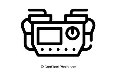 defibrillator medical equipment black icon animation