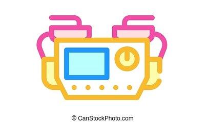 defibrillator medical equipment color icon animation