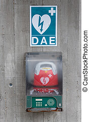 Defibrillator on a wall in france