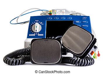 Defibrillator unit - a defibrillator unit isolated over a...