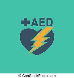 defibrillator), vecteur, aed, logo, (automated, externe