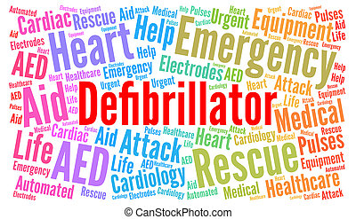 Defibrillator word cloud illustration