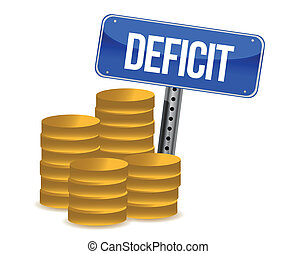 deficit and coins illustration design over a white ...
