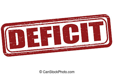 Deficit - Stamp with word deficit inside, vector...