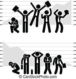 deficytowy, biznesmen, zwycięski, wykres