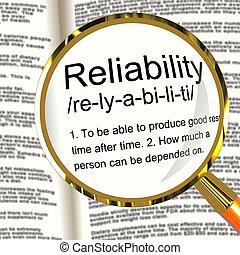 definição, dependability, fiabilidade, magnifier, confiança...