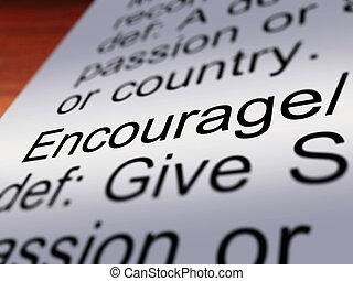 definição, encorajar, closeup, mostrando, motivação