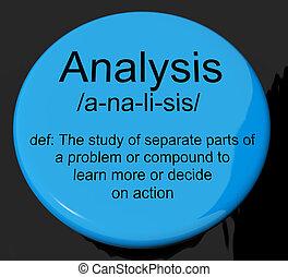 definição, examinando, mostrando, análise, botão, sondar, ...