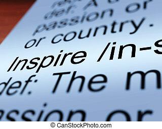 definição, mostrando, closeup, inspire, encorajamento