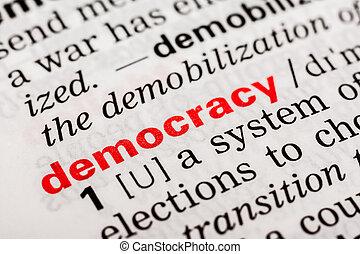 definição, palavra, democracia