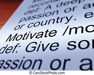 definição, positivo, mostrando, motive, encorajamento, closeup
