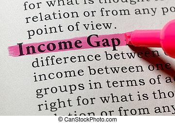 definição, renda, lacuna
